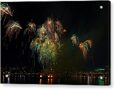 4th Of July Fireworks From The Barge Portland Oregon Acrylic Print by David Gn