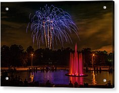 4th Of July Fireworks In Forest Park Acrylic Print by Garry McMichael