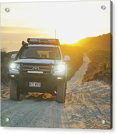 4wd Car Explores Sand Track In Early Morning Light Acrylic Print