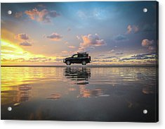 4wd Vehicle And Stunning Sunset Reflections On Beach Acrylic Print