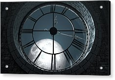 Antique Backlit Clock And Moon Acrylic Print by Allan Swart