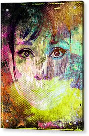 Acrylic Print featuring the mixed media Audrey Hepburn by Svelby Art