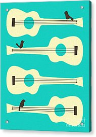 Birds On Guitar Strings Acrylic Print by Jazzberry Blue