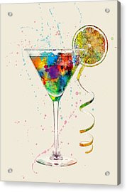 Cocktail Drinks Glass Watercolor Acrylic Print