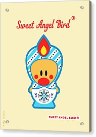 Cute Art - Blue And White Snowflake Folk Art Sweet Angel Bird In A Matryoshka Doll Costume Wall Art Print Acrylic Print