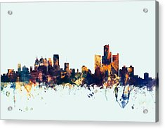 Detroit Michigan Skyline Acrylic Print by Michael Tompsett