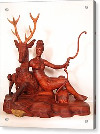 Diana And The Stag Acrylic Print by Thu Nguyen