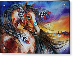5 Feathers Indian War Horse Acrylic Print