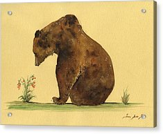 Grizzly Bear Watercolor Painting Acrylic Print by Juan  Bosco