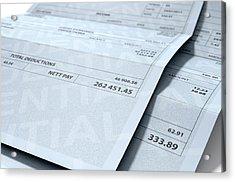 Income Inequality Paychecks Acrylic Print