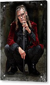 Long Haired Man With Shaved Sides In Steampunk Theme Acrylic Print