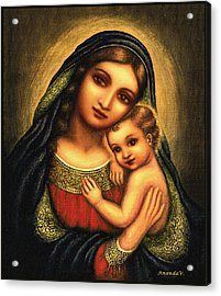 Oval Madonna Acrylic Print by Ananda Vdovic