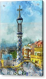 Parc Guell In Barcelona Spain Acrylic Print by Brandon Bourdages