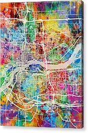 Quad Cities Street Map Acrylic Print by Michael Tompsett