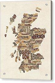 Scotland Typography Text Map Acrylic Print