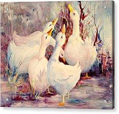 5 White Geese Acrylic Print