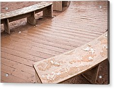 Wooden Benches Acrylic Print by Tom Gowanlock
