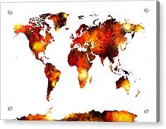 World Map Watercolor Acrylic Print by Michael Tompsett