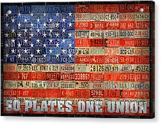 50 Plates One Union Recycled License Plate American Flag Acrylic Print by Design Turnpike