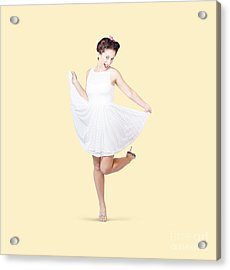 50s Pinup Woman In White Dress Dancing Acrylic Print