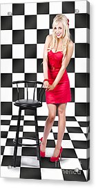 50s Woman Standing In Black And White Checked Cafe Acrylic Print