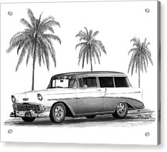 56 Chevy Wagon Acrylic Print by Peter Piatt
