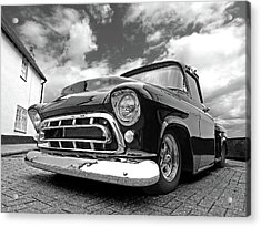 57 Stepside Chevy In Black And White Acrylic Print