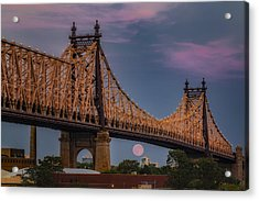 59 Street Queensboro Bridge Full Moon Acrylic Print
