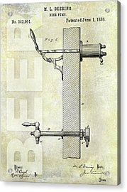 1886 Beer Pump Patent Acrylic Print