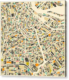 Amsterdam Map Acrylic Print by Jazzberry Blue