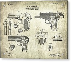 Automatic Pistol Operated By Gas - Patent Drawing For The 1899 Gas Operated Firearm By J. M. Brownin Acrylic Print