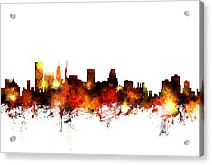 Baltimore Maryland Skyline Acrylic Print by Michael Tompsett