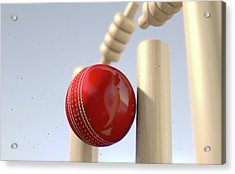 Cricket Ball Hitting Wickets Acrylic Print by Allan Swart