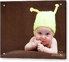 Acrylic Print featuring the photograph Cute Newborn Portrait by Gualtiero Boffi