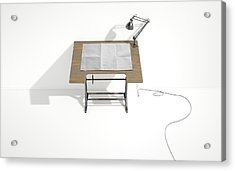 Drafting Desk Lamp And Paper Acrylic Print by Allan Swart