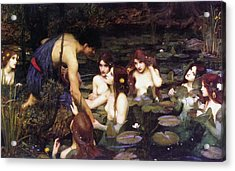 Hylas And The Nymphs Acrylic Print by John William Waterhouse