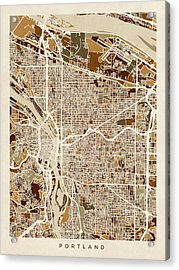 Acrylic Print featuring the digital art Portland Oregon City Map by Michael Tompsett