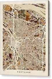 Portland Oregon City Map Acrylic Print