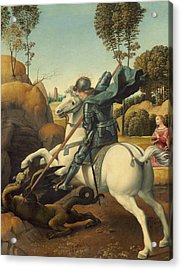 Saint George And The Dragon Acrylic Print by Raphael