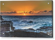 Sunrise Seascape With Sun Acrylic Print