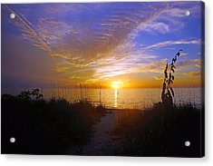 Sunset At Delnor Wiggins Pass State Park In Naples, Fl Acrylic Print