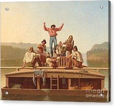 The Jolly Flatboatmen Acrylic Print by George Caleb Bingham