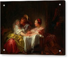 Acrylic Print featuring the painting The Stolen Kiss by Jean-Honore Fragonard