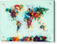 World Map Paint Splashes Acrylic Print by Michael Tompsett