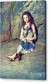 Young American Woman Missing You With White Rose In New York Acrylic Print