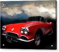 60 Corvette Roadster In Red Acrylic Print