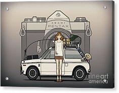Honda N600 Rally Kei Car With Japanese 60's Asahi Pentax Commercial Girl Acrylic Print