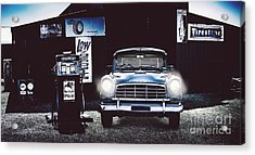 60s Australian Fc Holden Parked At Old Garage Acrylic Print by Jorgo Photography - Wall Art Gallery