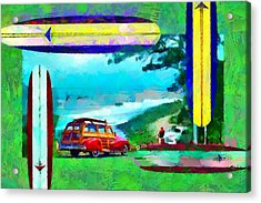 60's Surfing Acrylic Print by Caito Junqueira