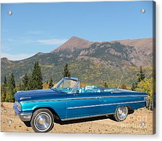 63 Ford Convertible Acrylic Print by Steven Parker